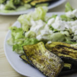 Grilled zucchini salad with goat cheese