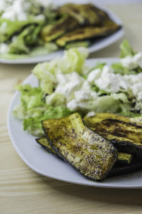 grilled zucchini with goat feta