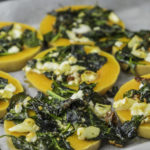 Baked butter pumpkin with spinach and goat cheese stuffing